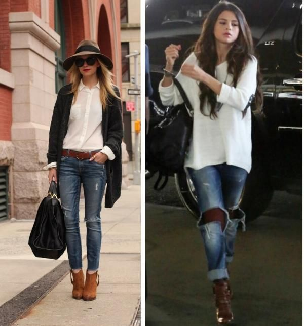 Botines marrones con jeans