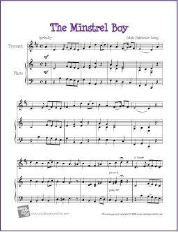 The Minstrel Boy | Free Sheet Music for Trumpet - http://makingmusicfun.net/htm/f_printit_free_printable_sheet_music/the-minstrel-boy-trumpet-solo.htm