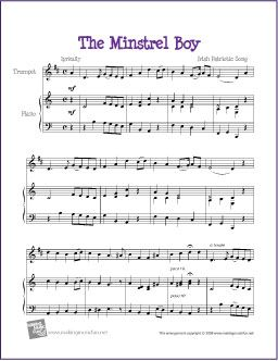 The Minstrel Boy | Free Sheet Music for Trumpet - http://makingmusicfun.net/htm/f_printit_free_printable_sheet_music/the-minstrel-boy-trumpet-solo.htm