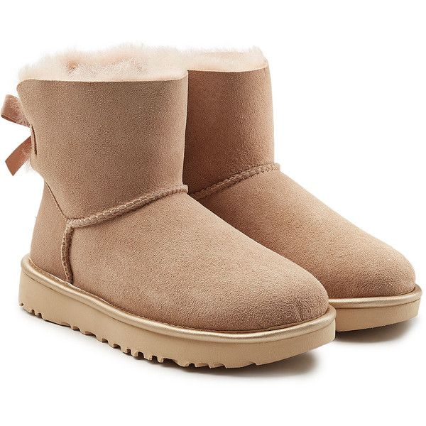 Ugg Australia Mini Bailey Bow Shearling Lined Suede Boots 4 325 Uah Liked On Polyvore Featuring Shoes Boots Beige Cold Weather Boots Suede Sho