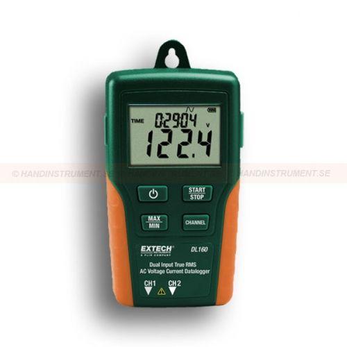 http://handinstrument.se/multimeter-r742/2-kanalig-strom-spanning-datalogger-for-vaxelstrom-220v-53-dl160-53-DL160-r745  2-Kanalig ström / spänning datalogger för växelström (220V) 53-DL160  Kan simultant mäta två AC spänningsingångar eller två AC strömstyrka ingångar eller en växelspänning och en AC strömförbrukning  Avläsningar kan laddas ner till datorn via USB-gränssnittet och analyseras med hjälp av medföljande programvaran eller exporteras till ett kalkylblad  LCD visar...