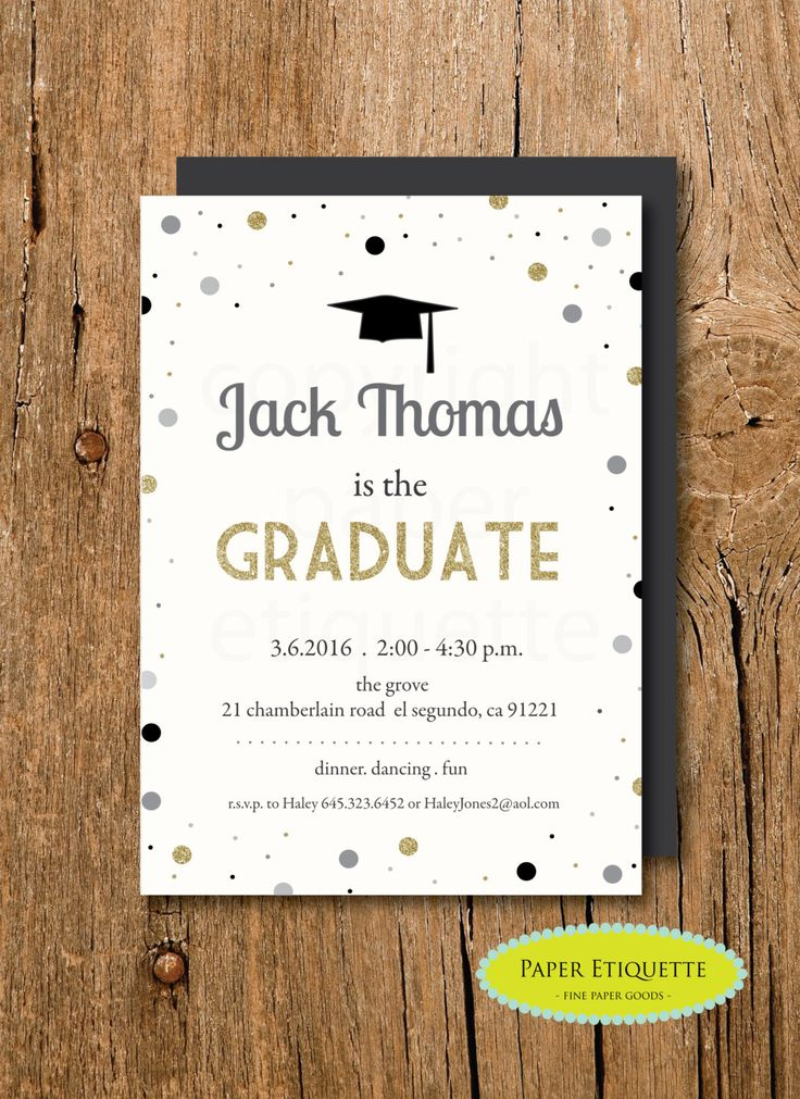 Graduation Hat Invitation, Gold Confetti Graduation Invitation,Graduation Invite, College Grad Invite, High School Graduation, Graduate by PaperEtiquette on Etsy