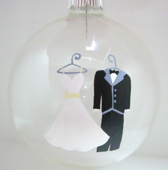 Wedding Christmas Ornament Handpainted Personalized by Kathy1910, $8.00