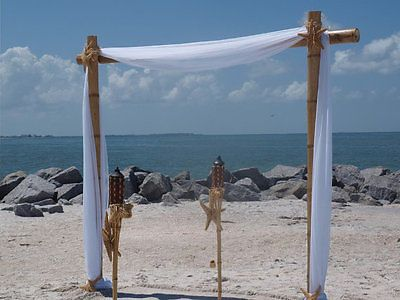 Bamboo Beach Wedding Arch Kit - 3 post With Fabric