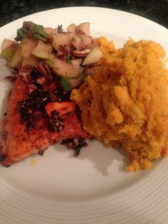 Life and Style West of the Ashley: New Dinner Recipe: BBQ Salmon & Mashed Sweet Potat...