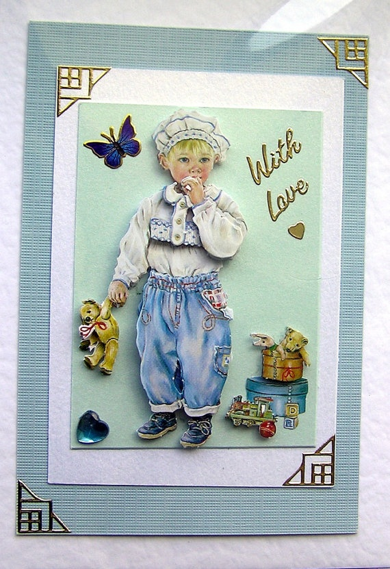 Little Boy HandCrafted 3D Decoupage Card With by SunnyCrystals, $3.55