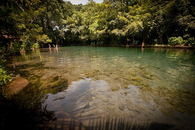 Ojo de Agua in Isla Ometepe, Nicaragua. This cold spring has mineral properties from the 2 volcanoes and is the perfect way to cool down.