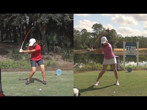 MICHELLE WIE vs LYDIA KO - SYNCED DRIVER GOLF SWING REG & SLOW MOTION FACE-ON 1080p HD - YouTube