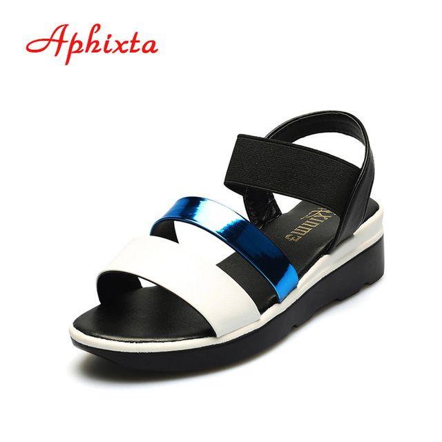 Daily Offers $11.64, Buy Aphixta Hot Sale Women Summer Shoes Elastic Band Strap Breathable PU Peep-toe Flat Heels Espadrilles Mujer Ladies Wedge Sandals