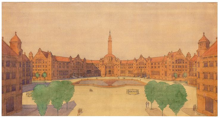 Expansion plan Den Haag/Scheveningen Perspective of a Peoples Square, situated in the south-west of the city H.P. Berlage, 1908. NAI Collec...