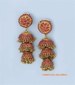 Pair of Antique Ruby Earrings   More From Category:Kempu Temple Harams and ButtaluRuby Emerald Bangles from Premraj JewellersSquare shaped jumkas studded with rubies and pearlsLakshmi Gopalaswami wearing Temple JewelleryUncut Jhumkas from VummidiFish Shape Ruby JhumkasBride wearing Ruby JewelleryRuby Peacock Jhumkas