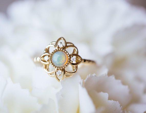 14K 18K Gold Fire Opal Flower Ring Art Deco Diamond Engagement Promise Ring Rose White Gold Platinum wedding Anniversary Ring gift