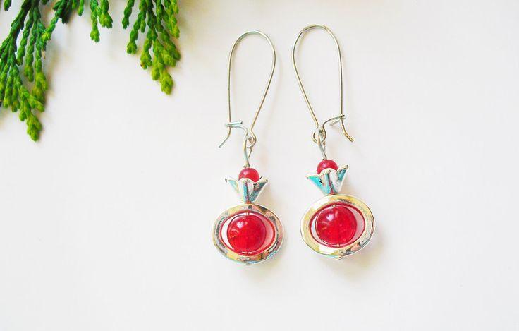 Rote Ohrringe Kronen von flowerring  auf DaWanda.com