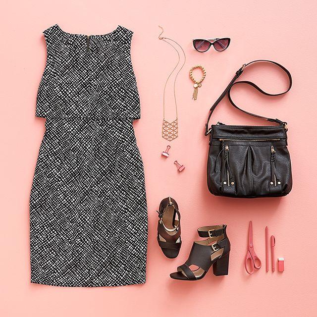 Monochrome Print Layered Dress #MonochromeDress #FlatLay