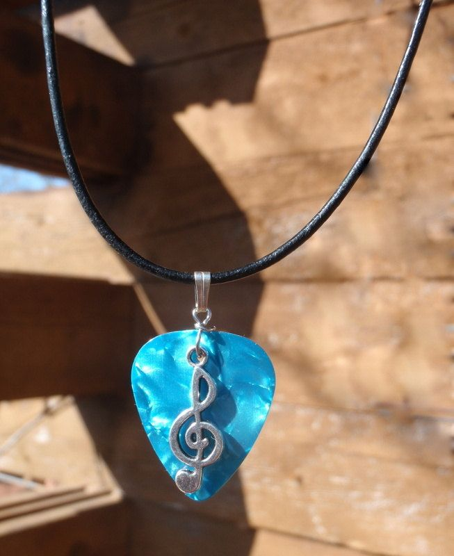 Leather Necklace - Music Note, Treble Clef  - Your Choice Guitar Pick Color.