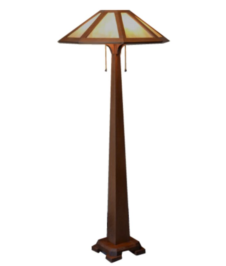 """Mission Craftsman Arts and Crafts style floor lamp. Amber Mica 8 panel lamp shade, quarter sawn oak base, pull chains. 60"""" tall."""