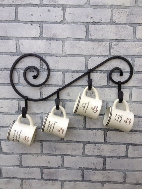 Wrought Iron Coffee Mug Holder for Four Person. (21 inches ) on Etsy, $40.00