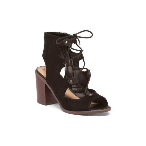 Kiera Lace Up Block Heel Sandals ($40) ❤ liked on Polyvore featuring shoes, sandals, laced sandals, block-heel sandals, caged heel sandals, peep toe heel sandals and lace up sandals