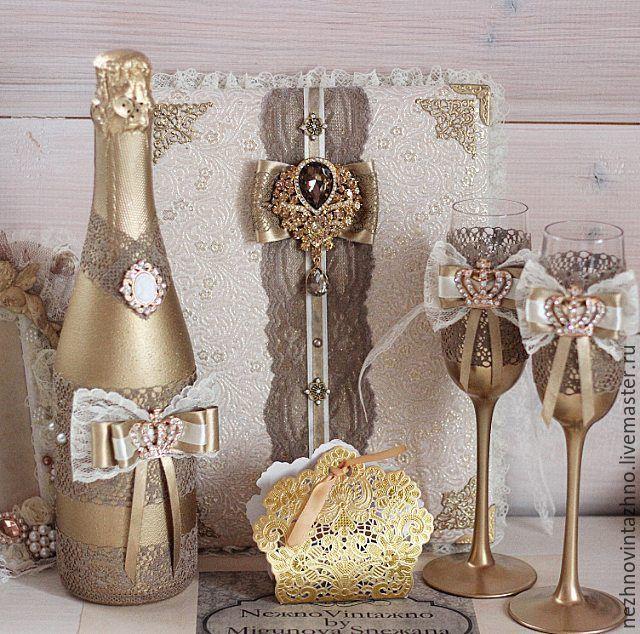 Купить Свадебный набор GOLD - золотой, свадьба, свадебные аксессуары, свадебные бокалы, шампанское на свадьбу