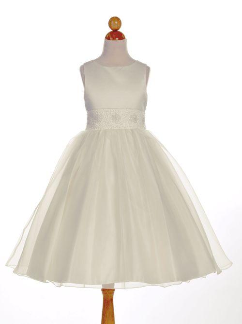 Elegant Beaded Satin Overlay Flower Girl Dress - First Communion Dresses