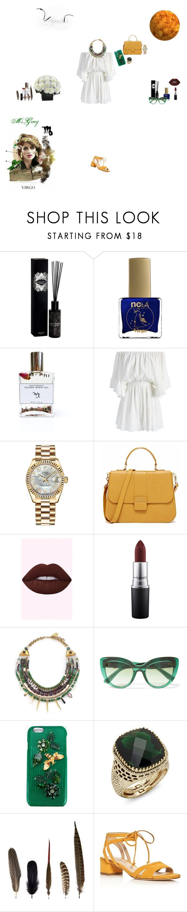 """""""Virgo hermit"""" by fmsgray on Polyvore featuring Welton London, ncLA, Bodhi, Chicwish, Rolex, MAC Cosmetics, Lizzie Fortunato, Dolce&Gabbana, Saks Fifth Avenue and Mineheart"""