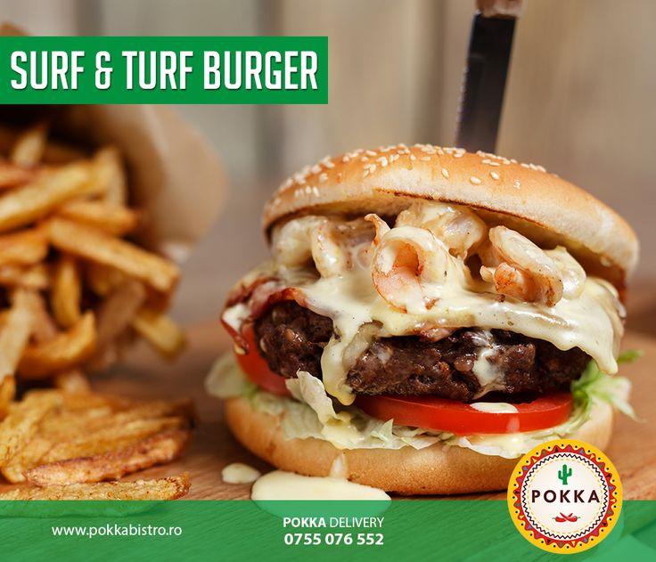 Un delicios burger cu creveți sotte, carne de vită și sos de maioneză caldă – servit împreună cu cartofi prăjiți  #Pokka #burgers #delivery #cluj