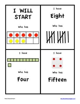 this is a set of i have who has cards for numbers using number words ten frames dice base ten digits good idea to make more using various ways to make