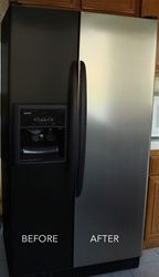 "Inexpensive way to make your ugly fridge become ""stainless""."