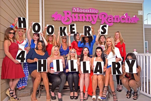 """Prostitutes at Dennis Hof's world famous """"Moonlite Bunny Ranch"""" legal brothel in Carson City, Nevada are banding together to announce their support of the Hillary Clinton presidential campaign. Following Clinton's formal announcement, the sex workers launched their """"Hookers For Hillary"""" initiative, drafting a four-point platform to explain their endorsement:"""