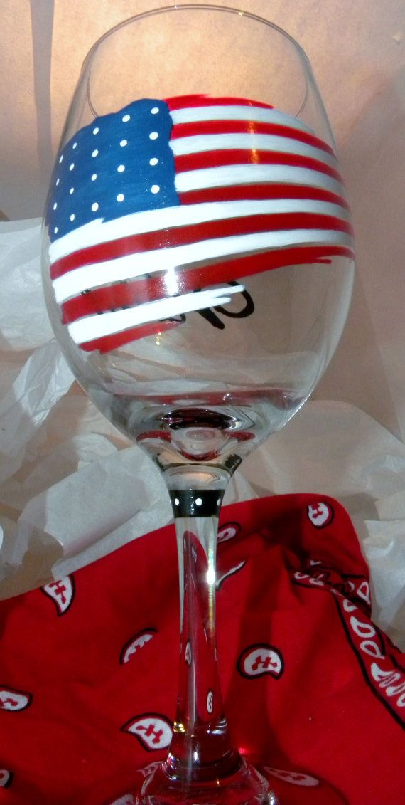 Courage Flag Wine Glass Patriotic US Flag Courage Red by GranArt