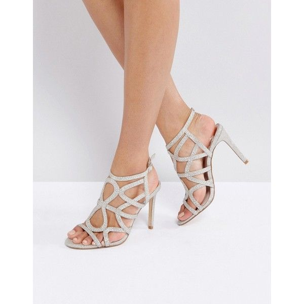 Faith Lisbon Cage Heeled Sandals (€67) ❤ liked on Polyvore featuring shoes, sandals, gold, gold embellished sandals, high heels sandals, heeled sandals, gold ankle strap sandals and gold flat sandals