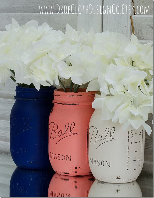 Navy, Coral, Cream Painted and Distressed Mason Jars