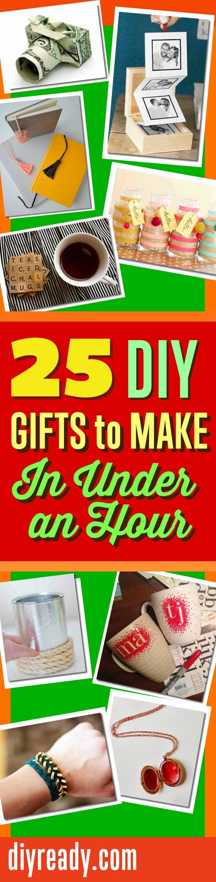 QUICK DIY Gifts You Can Make In Under An Hour! Quick DIY Projects and Do It Yourself Ideas for Easy Gift Tips http://diyready.com/25-diy-gifts-you-can-make-in-under-an-hour-homemade-christmas-gift-ideas/