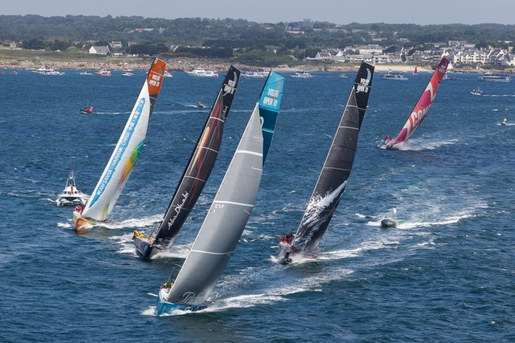 Team Telefonica lead the fleet, at the start of leg 9 of the Volvo Ocean Race 2011-12, from Lorient, France to Galway, Ireland.