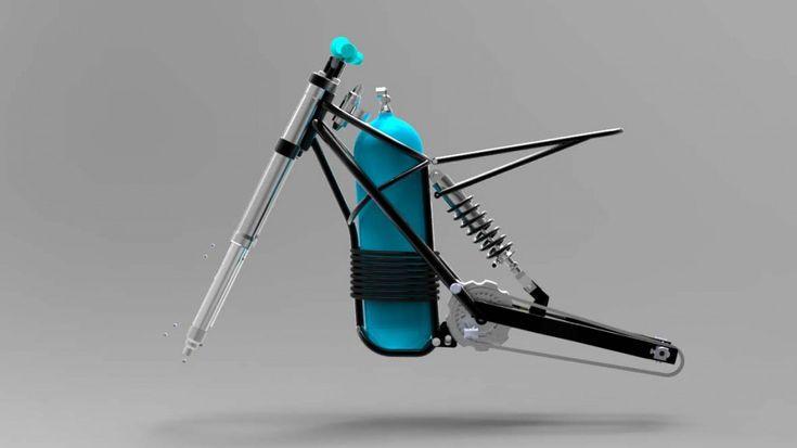Esquema de moto movida pelo motor de Angelo Di Pietro. Em destaque: o cilindro de ar comprimido.