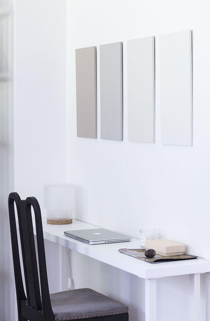 Home office, powdery hues, Sinnerlig lamp, Farrow & Ball paint via Coffee Table Diary