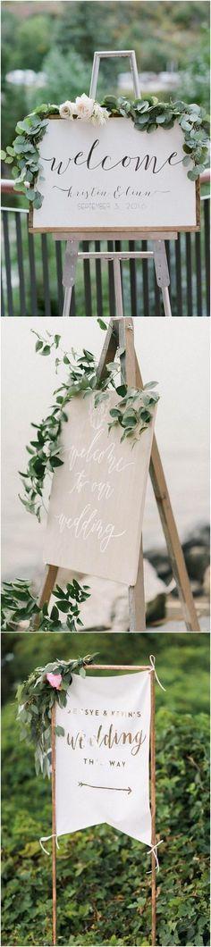 Trending greenery chic wedding signs #weddingideas #weddingsigns #wedding
