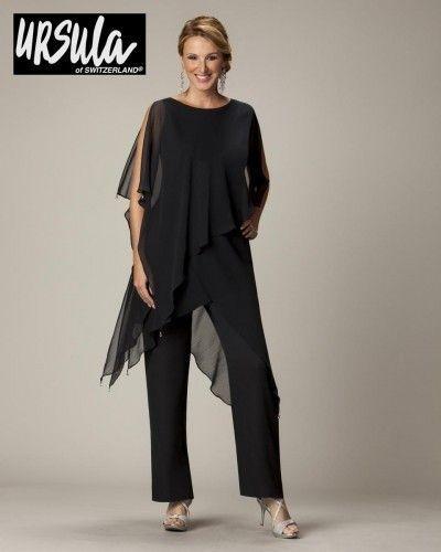Wholesale-2014 nueva llegada negro gasa riza negro diseño especial de la boda de dos piezas de la madre de novia traje pantalón vestido de noche