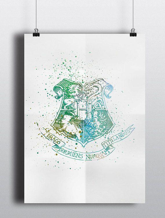 Harry Potter geïnspireerd Poster Print - Zweinstein Logo | Zweinstein Crest | Digitale Download | Wall Art | Aquarel schilderij | Minimalist