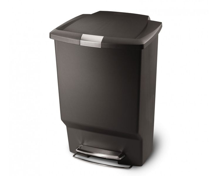 simplehuman | 45L rectangular grey plastic step trash can   Locks so the dog can't get in it!
