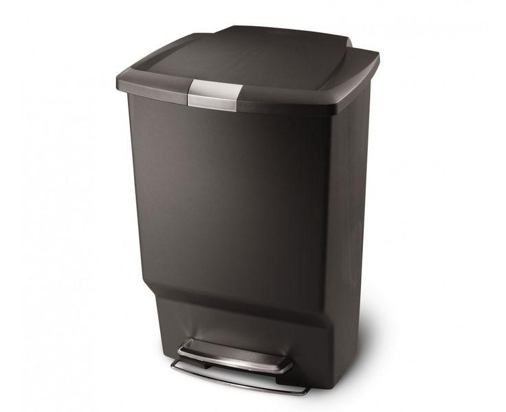 simplehuman | 45L poubelle rectangulaire à pédale en plastique gris simplehuman