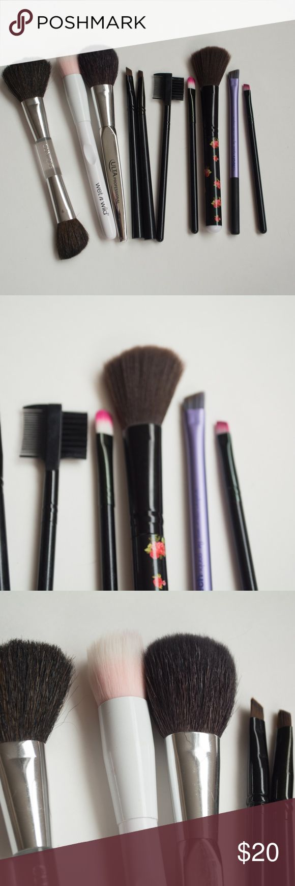 Makeup Brush Set $$OBO$$ Ulta Professional brush - never used Clinque double sided brush - never used 2 target eyeliner brushes - used and washed rose handled brush - never used wet n' wild brush - used and washed real techniques angled brush - used and washed 2 pink tipped brushes and brow brush - used and washed  CLOSET CLEAR OUT!!!! Taking all offers made using the button, I especially give great deals on bundles. Note: I do not take offers of $5 or less. Also I do not trade. Makeup…