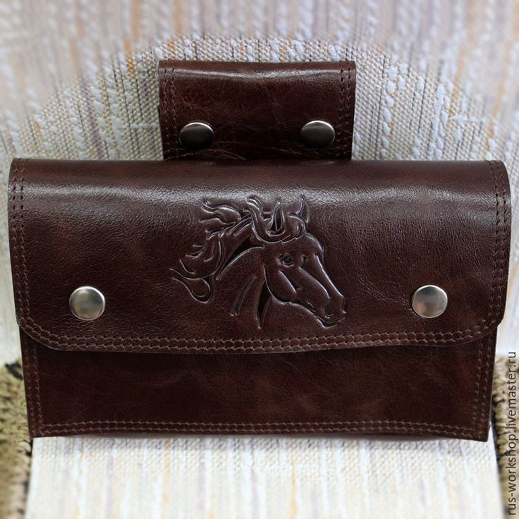 Купить Мужская кожаная сумка на ремень, сумка на пояс. - коричневый, сумка ручной работы, сумка