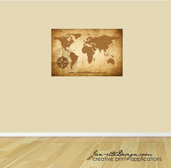 Map Wall Decal, 24''x36'' Rustic World Map Wall Art Decal