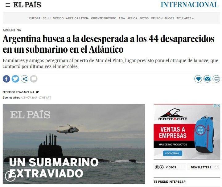 El submarino argentino desaparecido, una noticia que dio la vuelta al mundo. Varios de los más importantes diarios internacionales le dedicaron notas a la búsqueda del ARA San Juan en el Atlántico Sur. LEER MAS