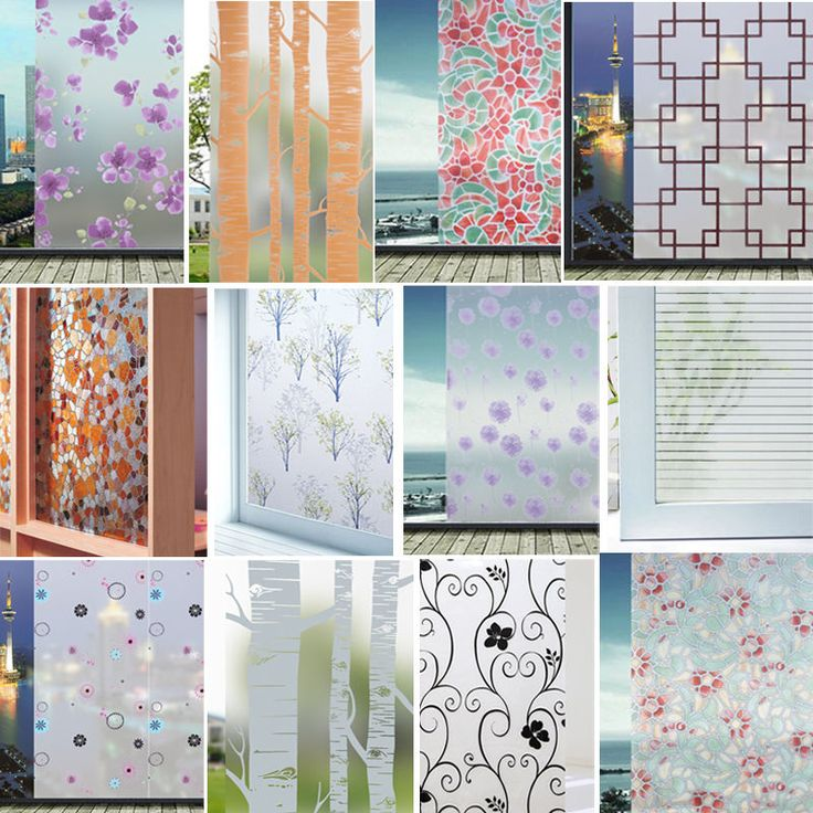 Static Cling Frosted Stained Flower Glass Window Film Sticker Privacy ..