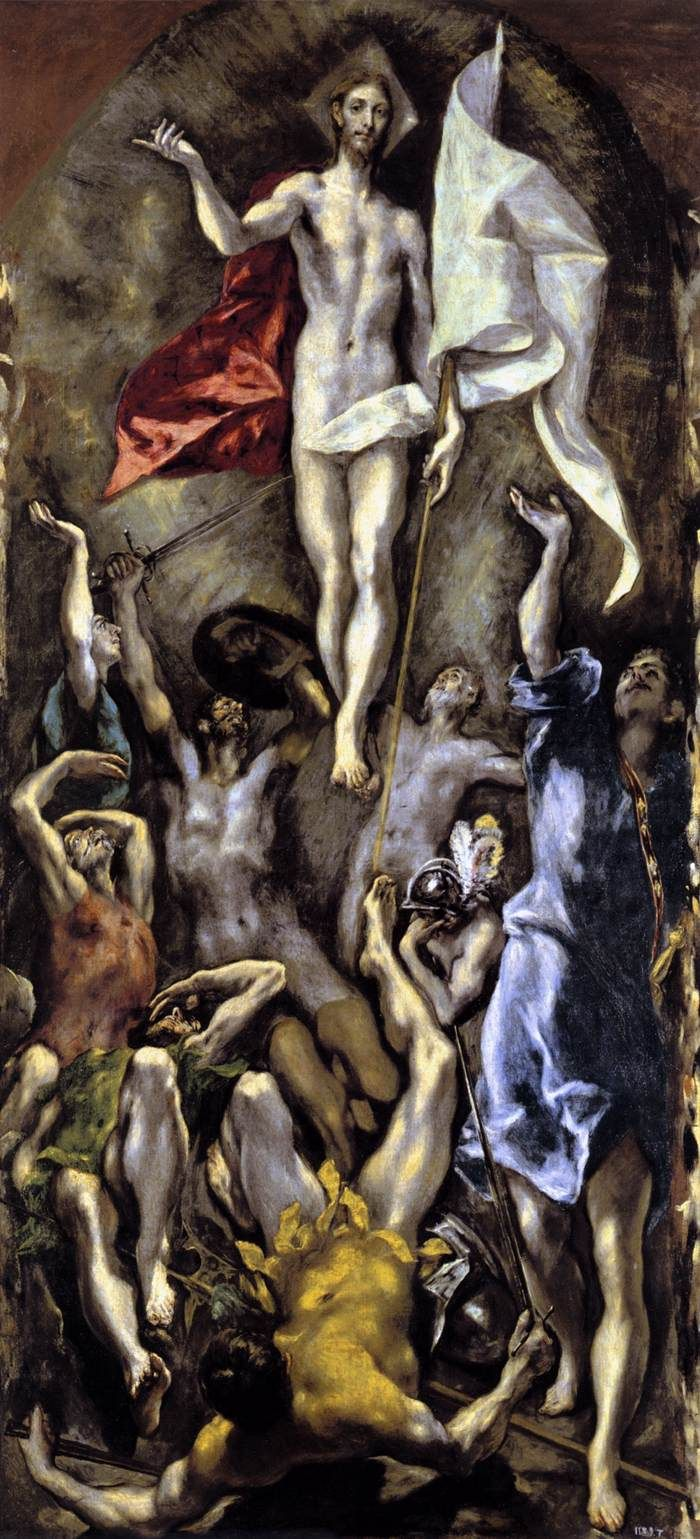 The Resurrection by El Greco, 1596-1600. El Greco, born Doménikos Theotokópoulos, (1541-1614) was a painter, sculptor and architect of the Spanish Renaissance. El Greco's dramatic and expressionistic style found appreciation in the 20th century. El Greco is regarded as a precursor of both Expressionism and Cubism. He is best known for tortuously elongated figures and often fantastic or phantasmagorical pigmentation, marrying Byzantine traditions with those of Western painting.