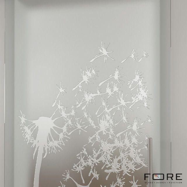 Zbliżenie 2 na wzór Dandelion ,www.fore-glass.com, #drzwi #drzwiszklane #drzwiwewnetrzne #szklane #glassdoor #glassdoors #interiordoor #glass #fore #foreglass #wnetrza #architektura