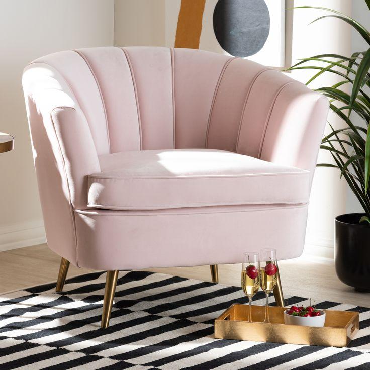 Baxton studio emeline glam and luxe light pink velvet