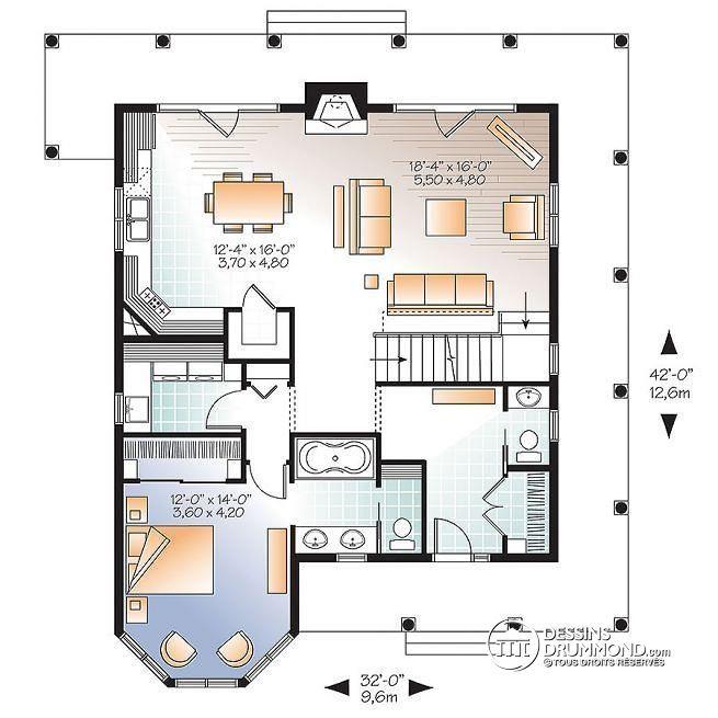 Plan de Rez-de-chaussée Maison de campagne style Rustique, 4 chambres, 3.5 s.bain, foyer, garde-manger, buanderie - Florence 2